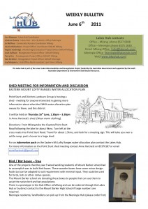 Lakes Hubs Bulletin No51 June 6th 2011