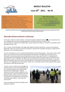 Lakes Hubs Bulletin No53 June 20th  2011