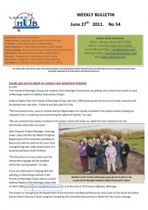 Lakes Hubs Bulletin No54 June 27th  2011