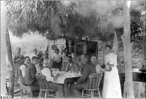 Lunchtime at a village settlement,ca.1898