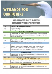 Click image to see the Coorong and Lakes Environment Forum Program.